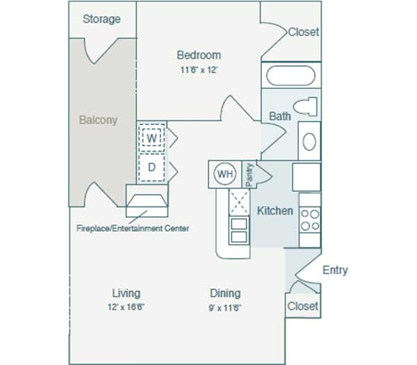 723 sq. ft. A2 floor plan