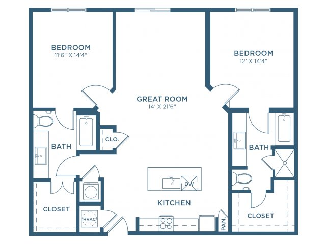 1,220 sq. ft. B5 floor plan