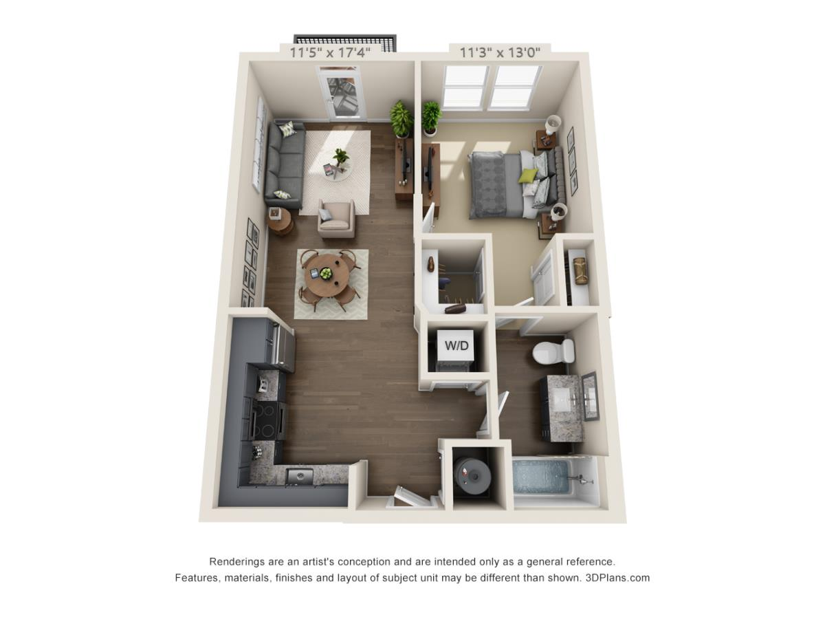 657 sq. ft. A1B floor plan