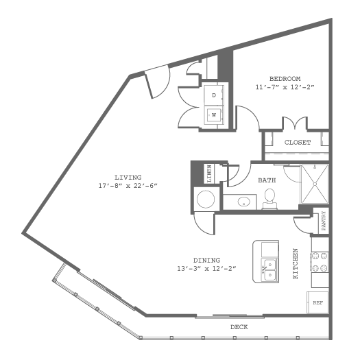 971 sq. ft. A4 floor plan