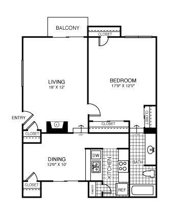 772 sq. ft. Portland floor plan