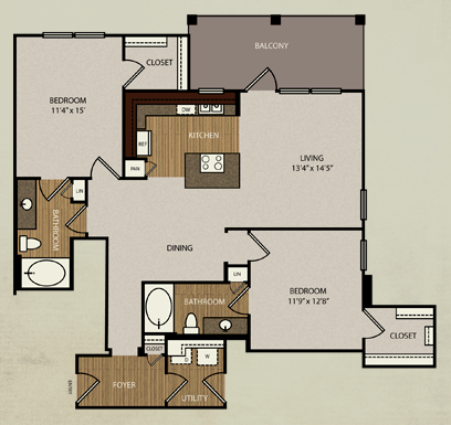 1,232 sq. ft. B4 floor plan