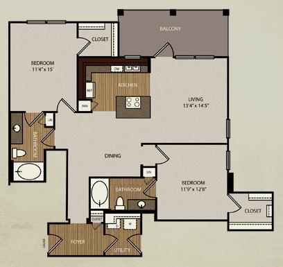 1,232 sq. ft. B4 floor plan