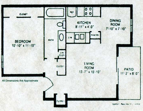 620 sq. ft. A-1 floor plan