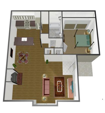 862 sq. ft. A1 floor plan