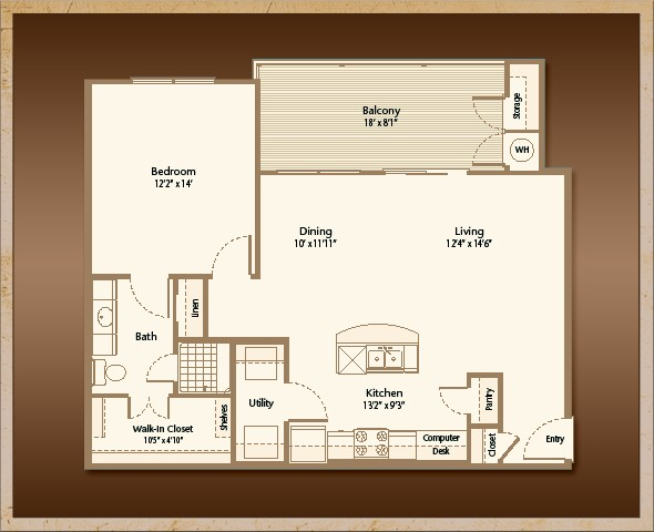 859 sq. ft. A1F floor plan