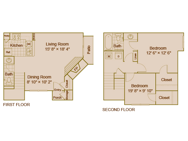 1,005 sq. ft. B3 floor plan