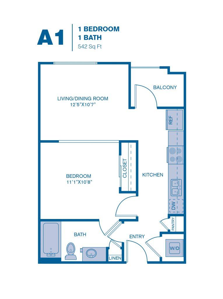542 sq. ft. A1 floor plan