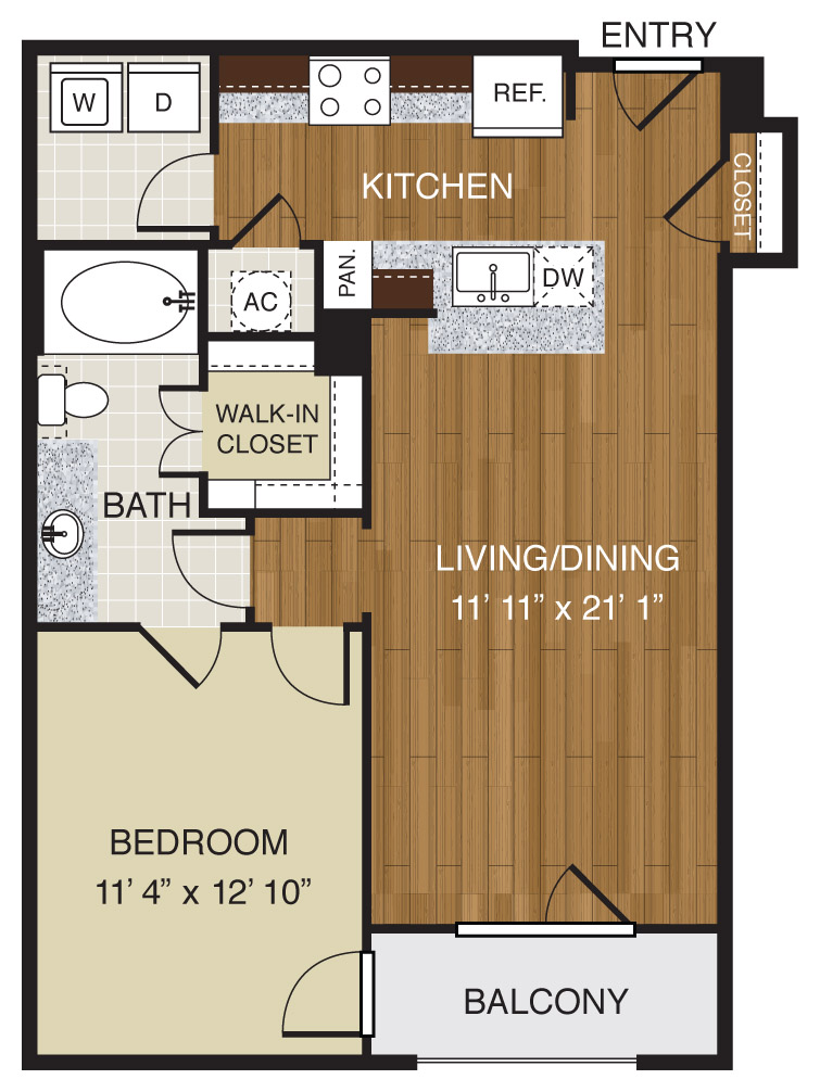 706 sq. ft. A2.1c floor plan