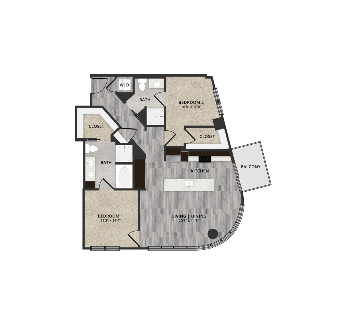 1,137 sq. ft. A2-L7 floor plan