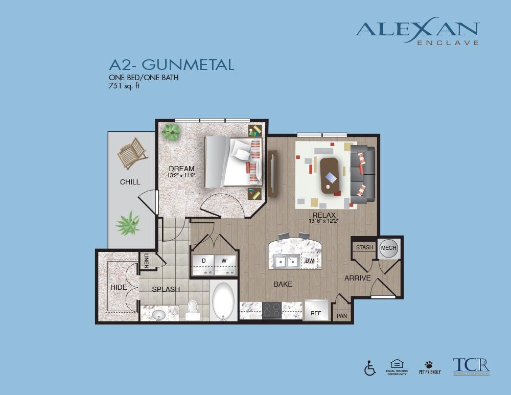 751 sq. ft. Gunmetal floor plan