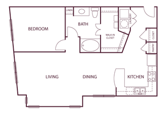 930 sq. ft. A7 floor plan