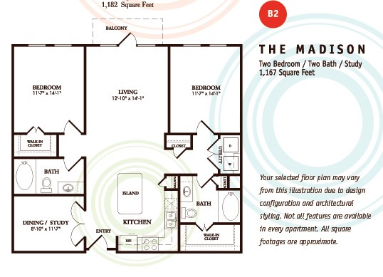 1,167 sq. ft. B2/MADISON floor plan