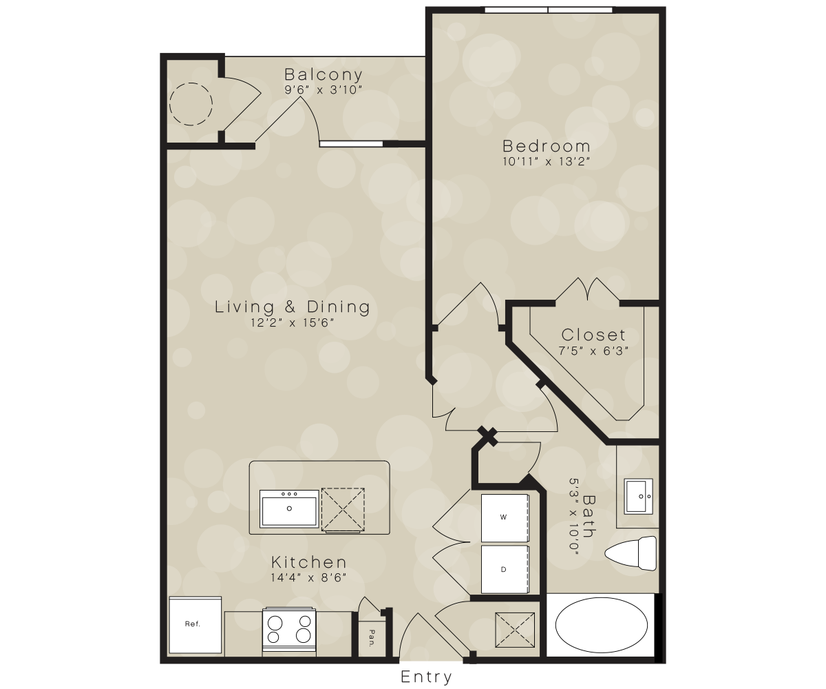 667 sq. ft. A4B floor plan