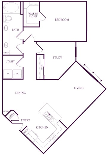 1,030 sq. ft. A-B2S floor plan