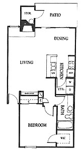 846 sq. ft. 1A floor plan