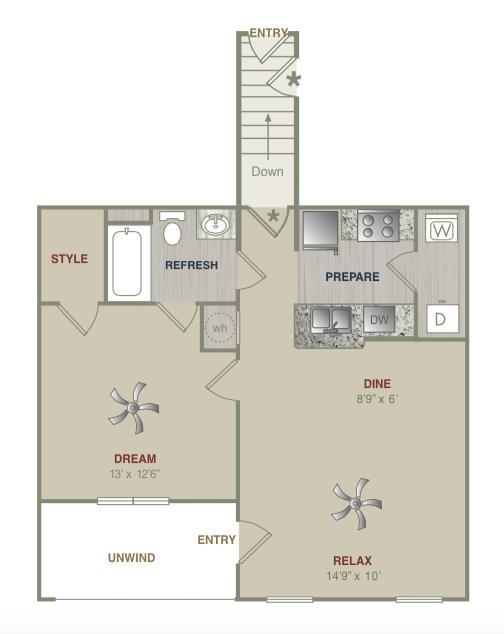813 sq. ft. A1UG floor plan