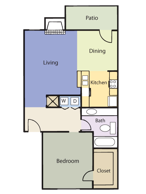 705 sq. ft. El Tuscany floor plan