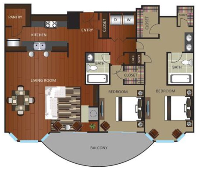 1,489 sq. ft. PNTHOUSE floor plan