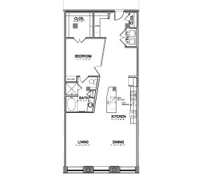 1,197 sq. ft. Unit 4 floor plan