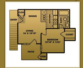 456 sq. ft. A-0 floor plan