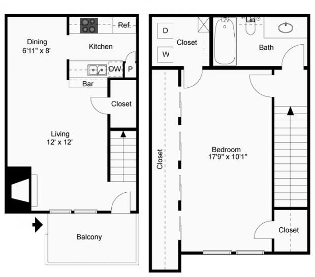 806 sq. ft. A-4T floor plan