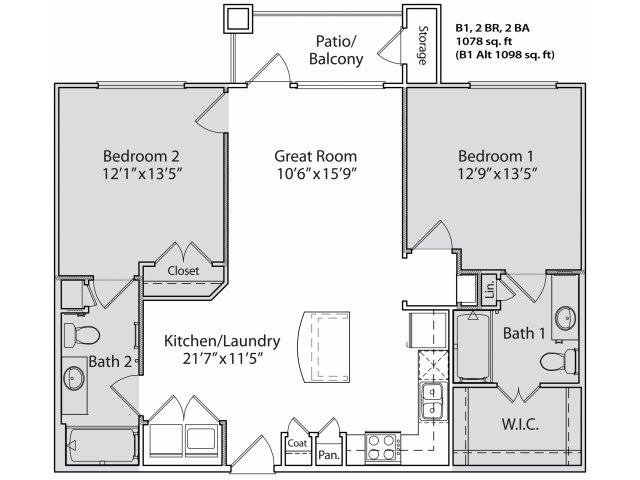 1,002 sq. ft. B1 floor plan