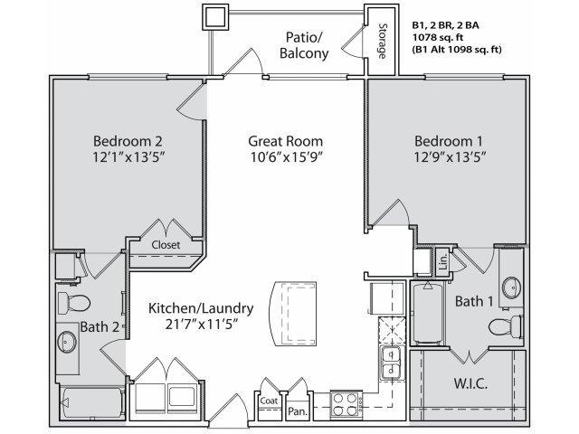 1,002 sq. ft. B1 floor plan