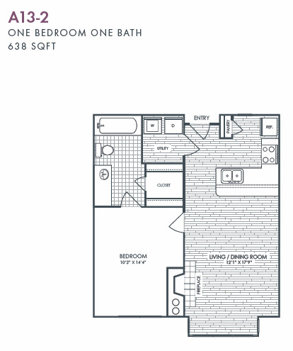638 sq. ft. A13-2 floor plan