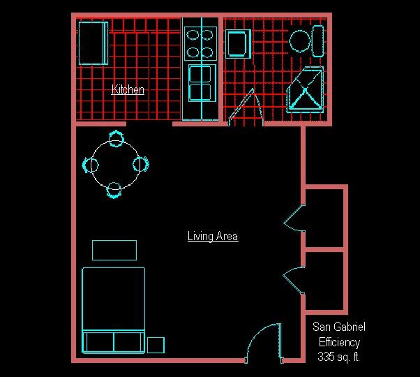 335 sq. ft. EFF A floor plan