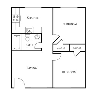 520 sq. ft. EBAN I floor plan