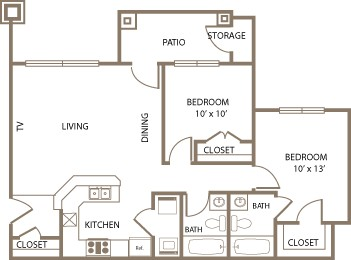 912 sq. ft. Baron floor plan