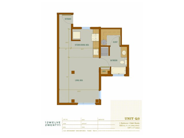 532 sq. ft. Q3 floor plan