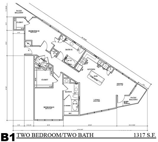 1,317 sq. ft. B1E floor plan