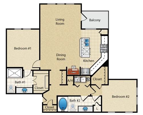 1,177 sq. ft. Florence floor plan