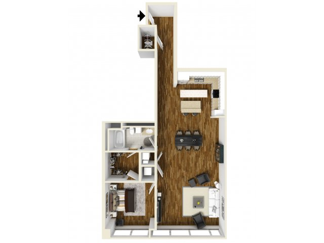 1,138 sq. ft. Pearl floor plan