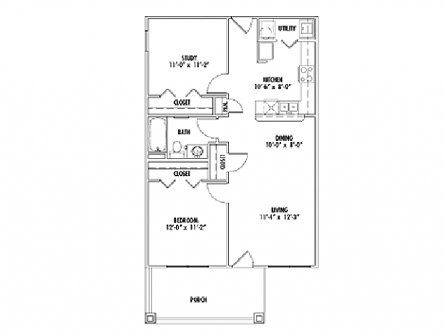 849 sq. ft. B1 floor plan