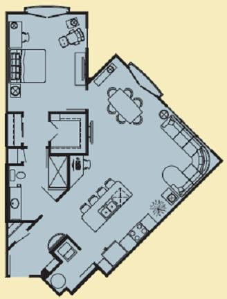 954 sq. ft. E floor plan