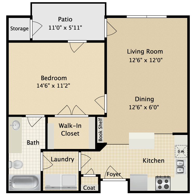 718 sq. ft. II A1.1 floor plan