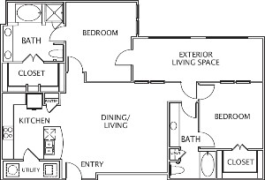 1,400 sq. ft. Constanza floor plan