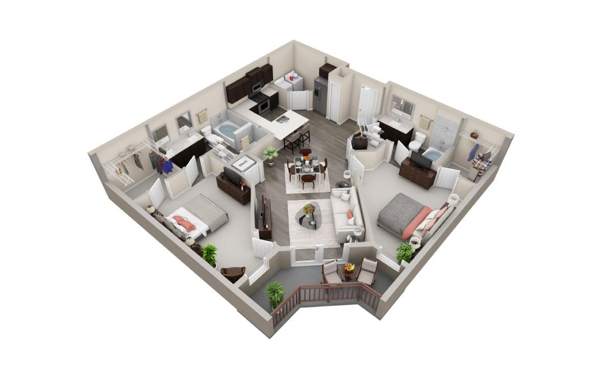 1,137 sq. ft. B4 floor plan