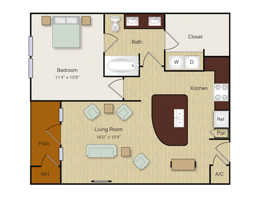 762 sq. ft. A10 floor plan