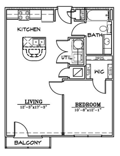 667 sq. ft. A3/A3HC floor plan