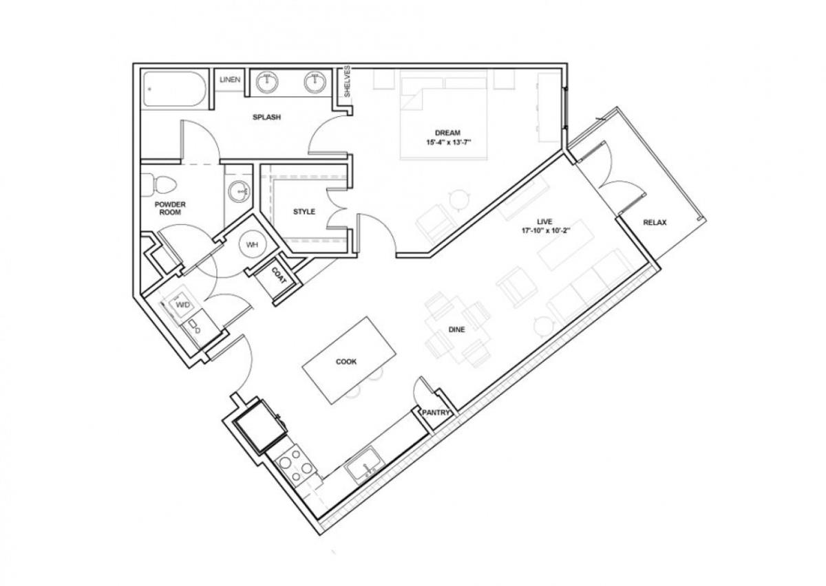 902 sq. ft. Uptown floor plan