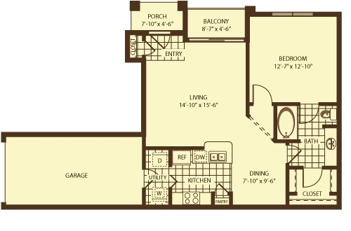 790 sq. ft. Gisborne floor plan