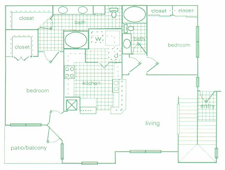 1,279 sq. ft. E2 floor plan