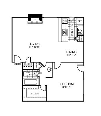 716 sq. ft. Las Vegas floor plan