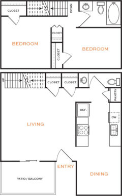 938 sq. ft. floor plan