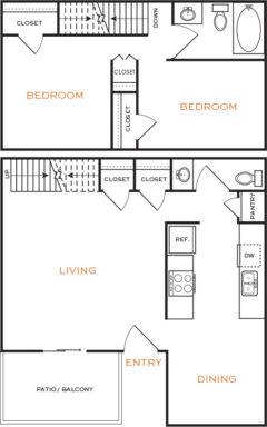 938 sq. ft. Ph II floor plan