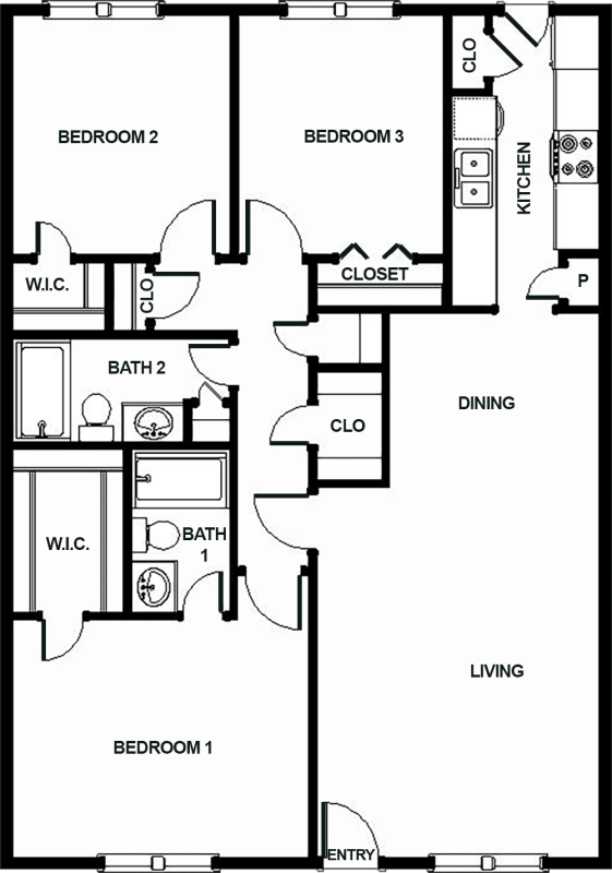 1,245 sq. ft. J1 floor plan